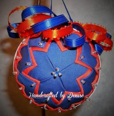 Houston Astros ~ Quilt looking fabric ornaments made by Handcrafted by Denise