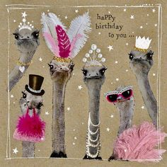 """A lovely birthday card from our Fancy Pants animal range, featuring some very glamourous ostriches. With caption: """"Happy Birthday to you"""" Happy Birthday Art, Happy Birthday Pictures, Happy Birthday Messages, Birthday Love, Happy Birthday Greetings, Animal Birthday, Birthday Celebration Quotes, Birthday Wishes Quotes, Happy Wishes"""