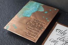 Copper wedding invitation with a patina effect
