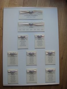 #Butterfly #wedding #seating #table #plan with #lace and a #crystal butterfly embellishment