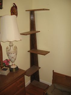 """Modern Corner Climbing Cat Tower, 68"""" tall cat stand with carpeted platforms, modern style cat tree and cat retreat."""