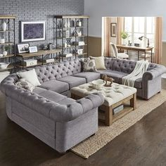 43 incredible farmhouse living room sofa design ideas and decor 39 Living Room Sectional, New Living Room, Home And Living, Tufted Sectional, Small Living, Cozy Living, Extra Large Sectional Sofas, Living Room Suites, Family Room With Sectional
