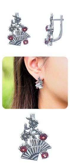 Earrings | 925 Sterling Silver & Natural Garnet Gemstone