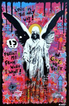 Toile by argadol. Banksy Graffiti, Art Inspo, Painting Inspiration, Pixel Art Anime, Pop Art, Art Du Collage, Arte Punk, Mickey Mouse Art, Amazing Street Art