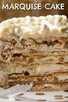 Shortbread cake layers topped with a crunchy meringue and walnuts in between a Russian buttercream. The perfect dessert recipe for any occasion! Homemade Cake Recipes, Cupcake Recipes, Baking Recipes, Cupcake Cakes, Dessert Recipes, Gourmet Cupcakes, Cookie Recipes, Russian Cakes, Russian Desserts