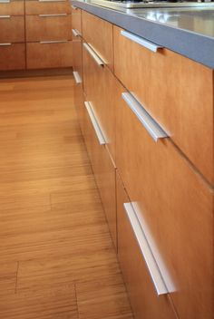 Modern kitchen cabinets and drawers; wood floors and wood cabinets