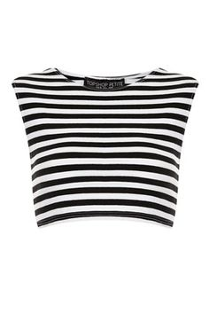 Petite Stripe Stretch Crop Top