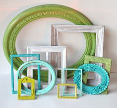 distressed frames in green aqua teal lime white - link is broken... but i love the idea.  Could do in new nursery (adding purple)?