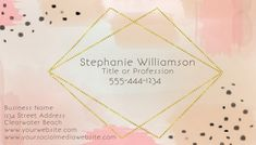 Customize this design with your video, photos and text. Easy to use online tools with thousands of stock photos, clipart and effects. Free downloads, great for printing and sharing online. Business Card. Tags: artistic watercolor business card for her, diy modern elegant sophisticated watercolor business ca, gold glitter business card, minimal abstract business card, modern business card, Small Business Flyers, Business Cards , Business Cards