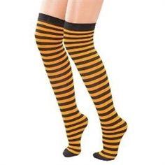 Knæstrømper orange og sort stribet, perfekt til Halloween  #halloween #damemode