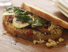 Chopped Chickpeas with roasted red peppers, black olives, lemon and parsley on country bread | 'wichcraft #NYCEateries