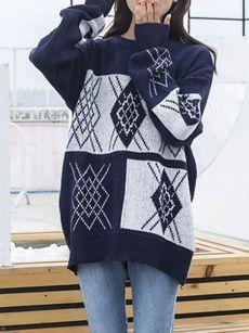 Loose Round Neck Color Block Geometric Sweater