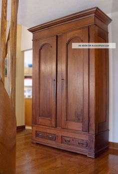 Antique Walnut Knock - Down Armoire. 1900-1950 photo