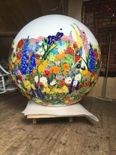 120 cms diameter stained glass mosaic ball - Work in progress