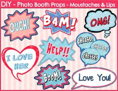 Speech Bubbles - Printable Photo Booth Props - Weddings - Parties - DIY - Comic