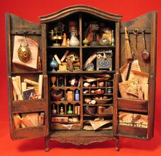Haunted & Weird - Patricia Paul Studio. Wizard's Potion Cabinet. 1:12 scale. In a private collection. By IGMA Fellow Patricia Paul