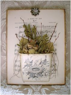 ~ The Feathered Nest ~Altered Canvas. Altered Canvas, Altered Art, Altered Books, Bird Crafts, Paper Crafts, Flower Crafts, Flower Art, Paper Art, Sisal