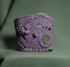 Freeform lilac cuff bracelet with various jade beads