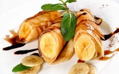 Banana Pancakes - Yellow, Sweet, Food, Fruit, Dessert, Pancake, Chocolate, Mint, Banana, Yellow Fruit