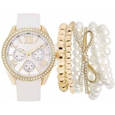 Mixit Womens White 7-pc. Watch Boxed Set-Jc2098g569-027 ($25) ❤ liked on Polyvore featuring jewelry, watches, bracelets, white wrist watch, white watches, mixit jewelry, mixit and white jewelry