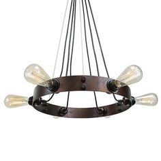 LNC Industrial 6-light Pendant Lighting for Kitchen, Dining Room, Living Room, Restaurant, Brown Finish