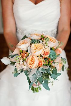 Lovely peony and succulent bridal bouquet (Photo by Lili Durkin)