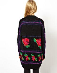 Image 2 ofASOS Hand Knit Floral Cardigan