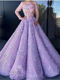 Ball Gown Purple Prom Dress Long Sleeve Vintage Lace Prom Dress # - How To Be Trendy Lilac Prom Dresses, Purple Gowns, Prom Dresses Long With Sleeves, Blue Wedding Dresses, Gowns With Sleeves, Prom Party Dresses, Wedding Dress Styles, Trendy Dresses, Purple Dress