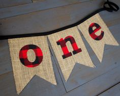 ONE burlap banner with red and black buffalo plaid letters. The perfect addition to your little one's outdoor, backyard camping or lumberjack themed first birthday party! Hang at the party, on the front of a highchair or use as a photo prop in first birthday photos!