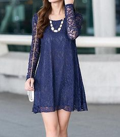 Fashion Women lace Dress Summer Style Casual Long Sleeve Dresses Loose Dress | eBay