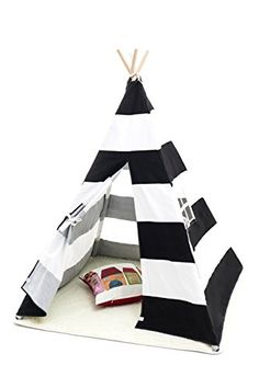 Small Boy Stripe Canvas Play Teepee Tent for Kids 100% Co...