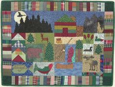 Northwoods Cabin Quilt- I'm actually currently making my own interpretation of a Northwoods quilt. It's a lot of fun creating each of the squares.  Mine will have animals that we have come across at our Adirondack Cabin on Goodnow Flowage Lake.