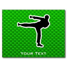 """Green Martial Arts Post Cards:  You will love this sleek green martial arts karate kickboxing taekwondo kick """"Tae Kwan Do"""" design. Great for gifts! Available on tee shirts, smart phone cases, mousepads, keychains, posters, cards, electronic covers, computer laptop / notebook sleeves, caps, mugs, and more!  #martialarts #kickboxing #green #customizable #postcard"""