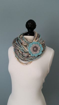 BLENDED TEXTURES AND COLORS....Chunky single crocheted infinity necklace scarf in multi colors. Several different types of yarn has been used