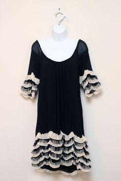 Anthropologie Yoana Baraschi Black & Ivory Silk Dress Ruffle Sleeves Hem Size 6 #YoanaBaraschi #ShiftRuffleSleevesRuffleHem