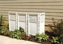 Air conditioners, garbage cans, mulch piles - whatever your is, you can tuck it away behind these attractive outdoor screen panels. Four panels and five posts can be arranged in or zig-zag s Landscape Curbing, Landscape Walls, Outside Living, Outdoor Living, Outdoor Screen Panels, Screen Enclosures, Outdoor Spaces, Outdoor Decor, Back Patio