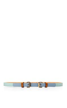 Double-Buckle Tricolor Skinny Leather Belt by Maison Boinet - Moda Operandi