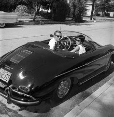 Larry Barbier - Steve McQueen and Neile Adams in 1961 with his beloved Porsche   1stdibs.com