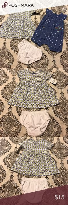 NWT Carter's Baby Girls 3 Piece Set NWT... made by Carter's...3 Piece Set....one romper and one dress with bloomers Carter's Matching Sets