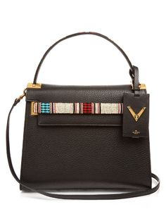 VALENTINO My Rockstud Bead-Embellished Leather Bag. #valentino #bags #shoulder bags #hand bags #suede #lining