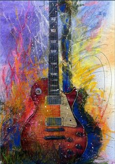 Fun With Les Les Paul Guitar Watercolor; another guitar painting for my classroom. Guitar Painting, Guitar Art, Love Art, Amazing Art, Watercolor Art, Art Photography, Art Gallery, Art Prints, Canvas Prints