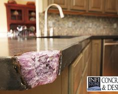 Concrete Countertop Design, Pictures, Remodel, Decor and Ideas - page 34 - with geode