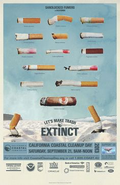 Ugh always a million cigarette butts on the beach. The beach is not your personal ash tray, beach bonfire enthusiasts. Beach Pollution, Quit Smoking Motivation, Medical Mnemonics, Beach Clean Up, Medical Posters, Pick Up Trash, Black Panther Party, Public Service Announcement, Beach Posters