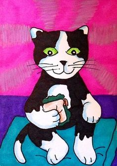 "Aceo Original ""WANT TO HAVE LUNCH? CAT"" ON EBAY"