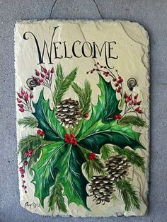 This is beautiful. Tole Painting, Fabric Painting, Painting On Wood, Painted Slate, Painted Rocks, Hand Painted, Christmas Rock, Christmas Signs, Holiday Signs