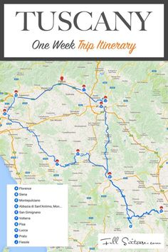 One week trip itinerary for Tuscany Italy. Road trip guide to the most beautiful Tuscan towns and countryside!: