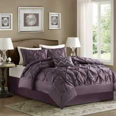 #Home #Decor: Furniture and #Decorators: Home Essence Madeline 5-Piece Comforter Set, King, #Purple: Bedroom Furnishings