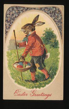 Large Dressed Rabbit in Fancy Suit & Cane Antique c.1910 Easter Postcard-kkk419