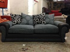 Tango Shannon Leather and fabric sofa  maymun.co.uk Fabric Sofa, Leather Fabric, Sofa Set, Tango, Black And Grey, Couch, Furniture, Home Decor, Settee