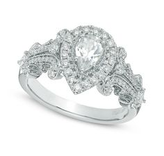 Vera Wang LOVE 0.5 ct Pear-Shaped Halo Diamond Engagement Ring ...